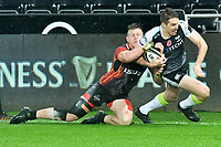 Rugby Union - 2019 / 2020 Guinness Pro14 - Ospreys vs. Southern Kings<br /> <br /> \0ss2\ tackled byChristopher Hollis of Southern Kings, at The Liberty Stadium.<br /> <br /> COLORSPORT/WINSTON BYNORTH