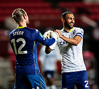 Football - 2020 / 2021 EFL Carabao Cup - Round Three - Bristol City vs  Aston Villa<br />  <br /> Ahmed Elmohamady of Aston Villa celebrates with with team-mate Jed Steer, at Ashton Gate.<br />  <br /> COLORSPORT/SIMON KING