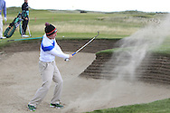 Gavin Moynihan plays out of a bunker on the 2nd with the GUI National panel players who are taking part in the Walker cup next week practicing with Neil Manchip and Tony Goode at Portmarnock on Wednesday 2nd September 2015.<br /> Picture:  Thos Caffrey / www.golffile.ie