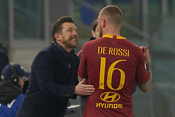 February 18, 2019 - Rome, Italy - Eusebio Di Francesco and Daniele De Rossi during the Italian Serie A football match between A.S. Roma and F.C. Bologna at the Olympic Stadium in Rome, on february 18, 2019. (Credit Image: © Silvia Lore/NurPhoto via ZUMA Press)