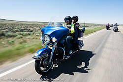 Kevin Thiemer ofIndependence, MO on his2009 Electra Glide riding from Steamboat Springs, Colorado, to Baggs, Wyoming during the Rocky Mountain Regional HOG Rally, USA. Friday June 9, 2017. Photography ©2017 Michael Lichter.