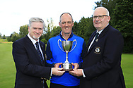 Paul Cuttle Captain Roscommon Golf Club (L) and Michael Heeney Connacht Golf (R) presenting Eddie McCormack (Galway) winner of the Connacht Mid Amateur Open, Roscommon Golf Club, Roscommon, Roscommon, Ireland. 17/08/2019.<br /> Picture Fran Caffrey / Golffile.ie<br /> <br /> All photo usage must carry mandatory copyright credit (© Golffile | Fran Caffrey)