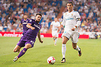 Real Madrid's Cristiano Ronaldo and Fiorentina's Nenad Tomovic during XXXVIII Santiago Bernabeu Trophy at Santiago Bernabeu Stadium in Madrid, Spain August 23, 2017. (ALTERPHOTOS/Borja B.Hojas)