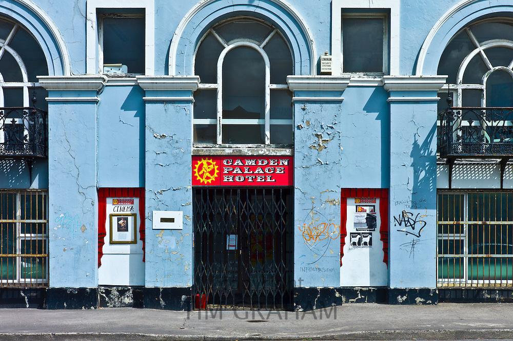 Graffiti and peeling paint at the shabby Camden Palace Hotel in Cork City, County Cork, I
