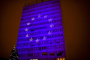Białystok. Flaga Unii Europejskiej na budynkach - 10.12.2020