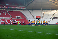 Football - 2020 / 2021 FA Cup - Round One - Sunderland vs Mansfield Town - Stadium of Light<br /> <br /> The teams take a minute silence before the game<br /> <br /> <br /> COLORSPORT/BRUCE WHITE