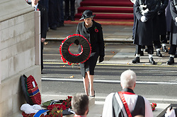 © Licensed to London News Pictures. 11/11/2018. London, UK.  British Prime Minister Theresa May attends a Remembrance Day Ceremony at the Cenotaph war memorial in London, United Kingdom, on November 11, 2018.  Thousands of people honour the war dead by gathering at the iconic memorial to lay wreaths and observe two minutes silence and marks the 100th anniversary of Armistice Day. Photo credit: Ray Tang/LNP