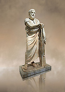 Roman marble sculpture of Homer from the rectangular peristyle of the Villa of the Papyri in Herculaneum, Naples Museum of Archaeology, Italy ..<br /> <br /> If you prefer to buy from our ALAMY STOCK LIBRARY page at https://www.alamy.com/portfolio/paul-williams-funkystock/greco-roman-sculptures.html . Type -    Naples    - into LOWER SEARCH WITHIN GALLERY box - Refine search by adding a subject, place, background colour, museum etc.<br /> <br /> Visit our CLASSICAL WORLD HISTORIC SITES PHOTO COLLECTIONS for more photos to download or buy as wall art prints https://funkystock.photoshelter.com/gallery-collection/The-Romans-Art-Artefacts-Antiquities-Historic-Sites-Pictures-Images/C0000r2uLJJo9_s0c