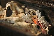 Burning Charcoal embers closeup