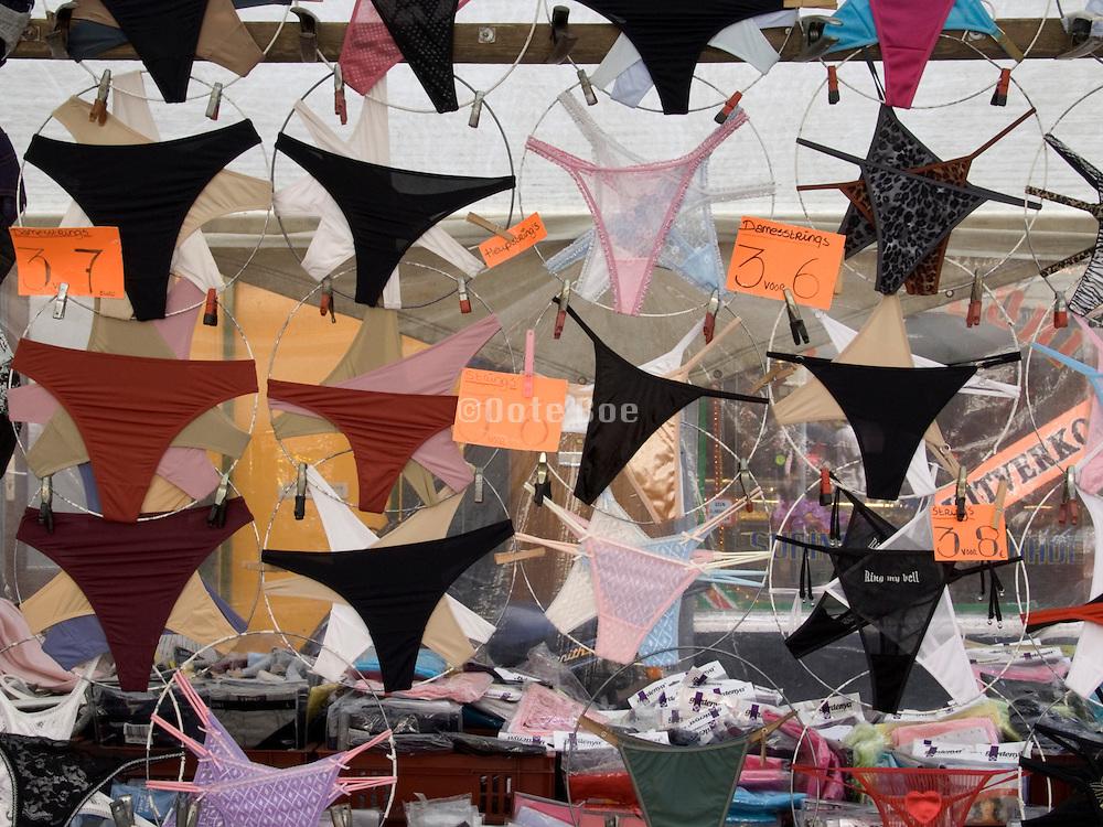 female underwear displayed at a day market Amsterdam