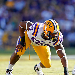 November 17, 2012; Baton Rouge, LA, USA  LSU Tigers defensive end Sam Montgomery (99) against the Ole Miss Rebels during a game at Tiger Stadium. LSU defeated Ole Miss 41-35. Mandatory Credit: Derick E. Hingle-US PRESSWIRE