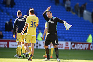 Millwall goalkeeper David Forde gives the thumbs up to the Millwall fans at end of match. Skybet football league championship, Cardiff city v Millwall at the Cardiff city stadium in Cardiff, South Wales on Saturday 18th April 2015<br /> pic by Andrew Orchard, Andrew Orchard sports photography.