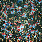 Trabzonspor's supporters during their UEFA Champions League group stage matchday 4 soccer match Trabzonspor between CSKA Moskva at the Avni Aker Stadium at Trabzon Turkey on Wednesday, 02 November 2011. Photo by TURKPIX