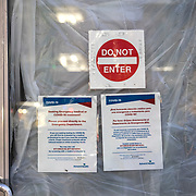 Advent Health hospital in Orlando has set up tents for the Coronavirus (Covid-19) outbreak but they are currently not in use and are part of their preparedness efforts in Orlando, Florida on Sunday, May 3, 2020. Florida Governor Ron DeSantis will open parts of the state of Florida in phases, with phase one beginning on May 4. (Alex Menendez via AP)