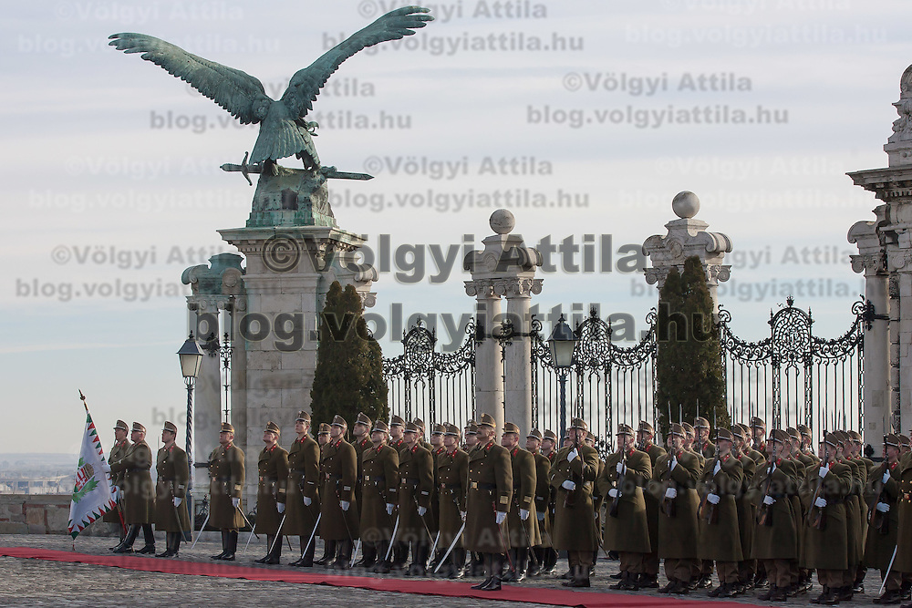 Palace Guards take over the formal guard in front of the Sandor's Palace used as the office of the President of Hungary in Budapest, Hungary on January 07, 2012. ATTILA VOLGYI