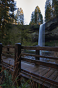 USA, Oregon, Silver Falls State Park,  South Falls, foot bridge on Canyon Trail, Digital Composite, HDR