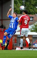 Photo: Ed Godden.<br />Bristol City v Brighton & Hove Albion. Coca Cola League 1. 02/09/2006. Alex Revell (L) and Bristol City's Liam Fontaine (R) both go for the header.