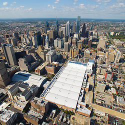 Aerial view of the Philadelphia Convention Center view west down vine street expressway
