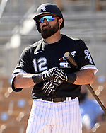 GLENDALE, ARIZONA - MARCH 05:  Adam Eaton #12 of the Chicago White Sox looks on against the Seattle Mariners on March 5, 2021 at Camelback Ranch in Glendale Arizona.  (Photo by Ron Vesely) Subject:  Adam Eaton