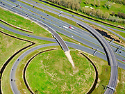Nederland, Noord-Holland, Amsterdam; 17-04-2021; Knooppunt Holendrecht A2, met in de voorgrond A9 naar Amstelveen, naar links. Bij de reconstructie van het knooppunt is een fly-over overbodig geworden.<br /> Holendrecht junction with A9 to Amstelveen in the foreground, to the left. A fly-over has become superfluous during the reconstruction of the junction.<br /> <br /> luchtfoto (toeslag op standard tarieven);<br /> aerial photo (additional fee required)<br /> copyright © 2021 foto/photo Siebe Swart