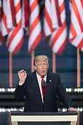 GOP Presidential candidate Donald Trump delivers his address accepting the party nomination for president on the final day of the Republican National Convention July 21, 2016 in Cleveland, Ohio.