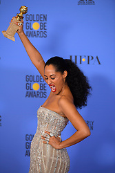 January 8, 2017 - Beverly Hills, California, U.S. - TRACEE ELLIS ROSS, wearing a Zuhair Murad gown, celebrates in the press room during the 74th Annual Golden Globe Awards, at The Beverly Hilton. (Credit Image: © Kevin Sullivan via ZUMA Wire)