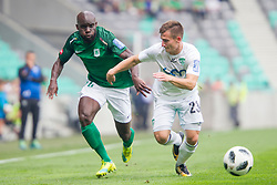 Mitch Apau of NK Olimpija Ljubljana and Klemen Sturm of NK Krsko during football match between NK Olimpija Ljubljana and NK Krsko in Round #35 of Prva liga Telekom Slovenije 2017/18, on May 23, 2018 in SRC Stozice, Ljubljana, Slovenia. Photo by Urban Urbanc / Sportida