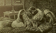 SAMSON AND DELILAH. - Judges xvi. 6. And Delilah said to Samson, Tell me, I pray thee, wherein thy great strength lieth;and wherewith thou mightest be bound to afflict thee From the book ' The Old Testament : three hundred and ninety-six compositions illustrating the Old Testament ' Part II by J. James Tissot Published by M. de Brunoff in Paris, London and New York in 1904