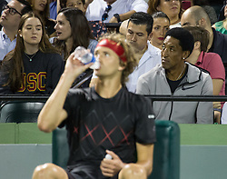 March 29, 2018 - Key Biscayne, Florida, United States - Scottie Pippen, former NBA champion with the Chicago Bulls, enjoying the semi final match between Alexander Zverev and Borna Coric at the Miami Open in Key Biscayne in Miami, on March 29, 2018. (Credit Image: © Manuel Mazzanti/NurPhoto via ZUMA Press)