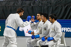 November 11, 2018 - Madrid, Madrid, Spain - Japan Team figth with Azerbaijan Team for bronce medal and the third place of Female Kata Team during the Finals of Karate World Championship celebrates in Wizink Center, Madrid, Spain, on November 11th, 2018. (Credit Image: © AFP7 via ZUMA Wire)