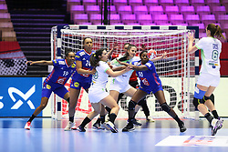 HERNING, DENMARK - DECEMBER 6: Maja Svetik passes in front of the French defense with Oceane Sercien Ugolin, Beatrice Edwige and Grace Zaadi Deuna during the EHF Euro 2020 Group A match between Slovenia and France in Jyske Bank Boxen, Herning, Denmark on December 6, 2020. Photo Credit: Allan Jensen/EVENTMEDIA.