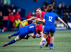 Gwenllian Pyrs of Wales under pressure from Beatrice Capomaggi of Italy<br /> <br /> Photographer Simon King/Replay Images<br /> <br /> Six Nations Round 1 - Wales Women v Italy Women - Saturday 2nd February 2020 - Cardiff Arms Park - Cardiff<br /> <br /> World Copyright © Replay Images . All rights reserved. info@replayimages.co.uk - http://replayimages.co.uk