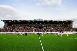 The players line up for the kick off of the first half of the match - Photo mandatory by-line: Rogan Thomson/JMP - Tel: Mobile: 07966 386802 16/02/2013 - SPORT - RUGBY - Allianz Park - Barnet. Saracens v Exeter Chiefs - Aviva Premiership. This is the first Premiership match at Saracens new home ground, Allianz Park, and the first time Premiership Rugby has been played on an artificial turf pitch.