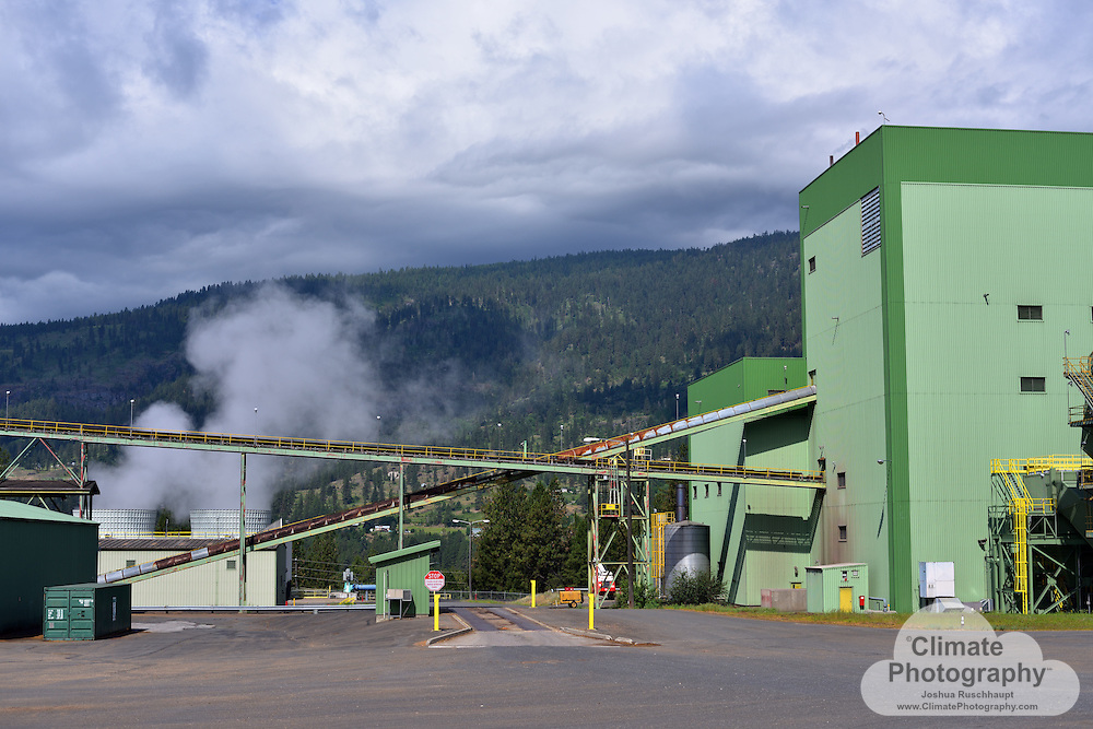 #ThisIsClimateChange The Kettle Falls Generating Station in eastern Washington, along the Columbia River, is a biofuel power station.  As seen in these images, wood chips derived from nearby forests are burned here to produce electricity in much the same way as coal-fired power plants.  This facility, however, is much smaller than a coal-fired plant.  <br /> <br /> For details on how biomass sourced from forests contribute to climate change, see this Stanford News article describing a Stanford study: http://news.stanford.edu/news/2014/july/biomass-burning-climate-073114.html.  There are multiple ways that carbon emitted from this plant contribute to climate change, as well as direct impacts to human health.