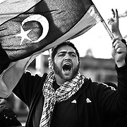 Protest in Kansas City MO on March 6 2011 against Libya's Muammar Gaddafi regime.