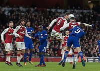 Football - 2017 / 2018 Carabao (EFL/League) Cup - Semi-Final, Second Leg: Arsenal (0) vs. Chelsea (0)<br /> <br /> As Chelsea pile on the pressure the Arsenal defence remain resolute and defend in numbers at The Emirates.<br /> <br /> COLORSPORT/DANIEL BEARHAM