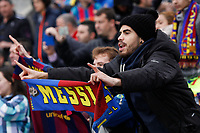 Barcelona´s supporter holds a Messi´s scarf during 2014-15 La Liga match at Coliseum Alfonso Perez stadium in Madrid, Spain. December 13, 2014. (ALTERPHOTOS/Victor Blanco)