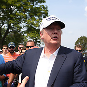 Donald Trump on the course during the final round of The Barclays Golf Tournament at The Plainfield Country Club, Edison, New Jersey, USA. 30th August 2015. Photo Tim Clayton