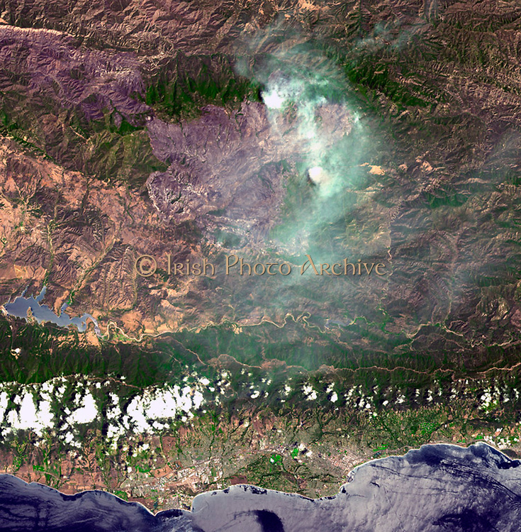 On August 7, 2007, the Zaca fire continued to burn in the Los Padres National Forest near Santa Barbara, California. Satellite image