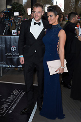 © Licensed to London News Pictures. 08/04/2016. JAMIE VARDY and BECKY NICHOLSON attend The Asian Awards celebrating the best in Asian achievement across business, sport, philanthropy, and popular arts and culture. London, UK. Photo credit: Ray Tang/LNP