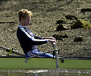 2003 - Rowing - 149th Varsity Boat Race - Tideway Week<br /> 31/03/03 Championship Course, River Thames, London.<br /> Oxford's blue boat morning training session. David Livingston. <br /> [Mandatory Credit; Peter Spurrier/Intersport Images]