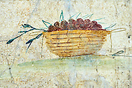 Roman Fresco of a fruit from The Large Columbarium in Villa Doria Panphilj, Rome. A columbarium is usually a type of tomb with walls lined by niches that hold urns containing the ashes of the dead.  Large columbaria were built in Rome between the end of the Republican Era and the Flavio Principality (second half of the first century AD).  Museo Nazionale Romano ( National Roman Museum), Rome, Italy. .<br /> <br /> If you prefer to buy from our ALAMY PHOTO LIBRARY  Collection visit : https://www.alamy.com/portfolio/paul-williams-funkystock/national-roman-museum-rome-fresco.html<br /> <br /> Visit our ROMAN ART & HISTORIC SITES PHOTO COLLECTIONS for more photos to download or buy as wall art prints https://funkystock.photoshelter.com/gallery-collection/The-Romans-Art-Artefacts-Antiquities-Historic-Sites-Pictures-Images/C0000r2uLJJo9_s0