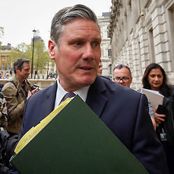 © Licensed to London News Pictures. 23/04/2019. LONDON, UK. Sir Keir Starmer, MP for Holborn and St Pancras and Shadow Brexit Secretary, arrives outside Cabinet Office ahead of cross-party talks on Brexit.  Photo credit: Stephen Chung/LNP