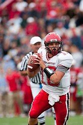 08 OCT 2005 WKU Hilltopper QB Justin Haddix drops and looks for an open receiver. The Illinois State University Redbirds roped and tied the Western Kentucky University Hilltoppers in regulation but loosened the noose in Overtime as the Hilltoppers take the honors with a 37 - 24 Victory in Gateway Conference action at Hancock Stadium on Illinois State's campus in Normal IL.