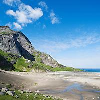 Scenic summer view of Bunes beach, Moskenesoy, Lofoten islands, Norway.