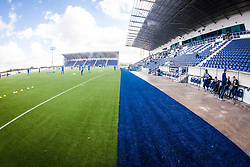 A landscape view of the new blue part of the plastic pitch at The Falkirk Stadium, for the Scottish Championship game v Morton. The woven GreenFields MX synthetic turf and the surface has been specifically designed for football with 50mm tufts compared with the longer 65mm which has been used for mixed football and rugby uses.  It is fully FFA two star compliant and conforms to rules laid out by the SPL and SFL.<br /> ©Michael Schofield.