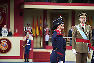 King Felipe VI of Spain attended the National Day military parade on October 12, 2016 in Madrid, Spain.