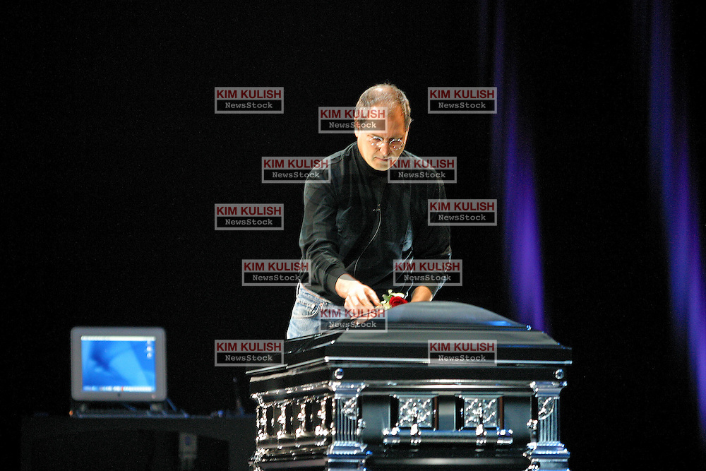 Apple Computer CEO Steve Jobs kicked off Apple's annual Worldwide Developer Conference by paying tribute to MacOS 9 as funeral music plays and a copy of OS 9 sits in a coffin on stage. Jobs announced that Apple would ship the next major upgrade to OS X code named Jaguar by the end of the summer.