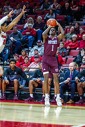 NORMAL, IL - January 07: Keandre Cook shoot s 3 pointer from very near the bench during a college basketball game between the ISU Redbirds and the University of Missouri State Bears on January 07 2020 at Redbird Arena in Normal, IL. (Photo by Alan Look)