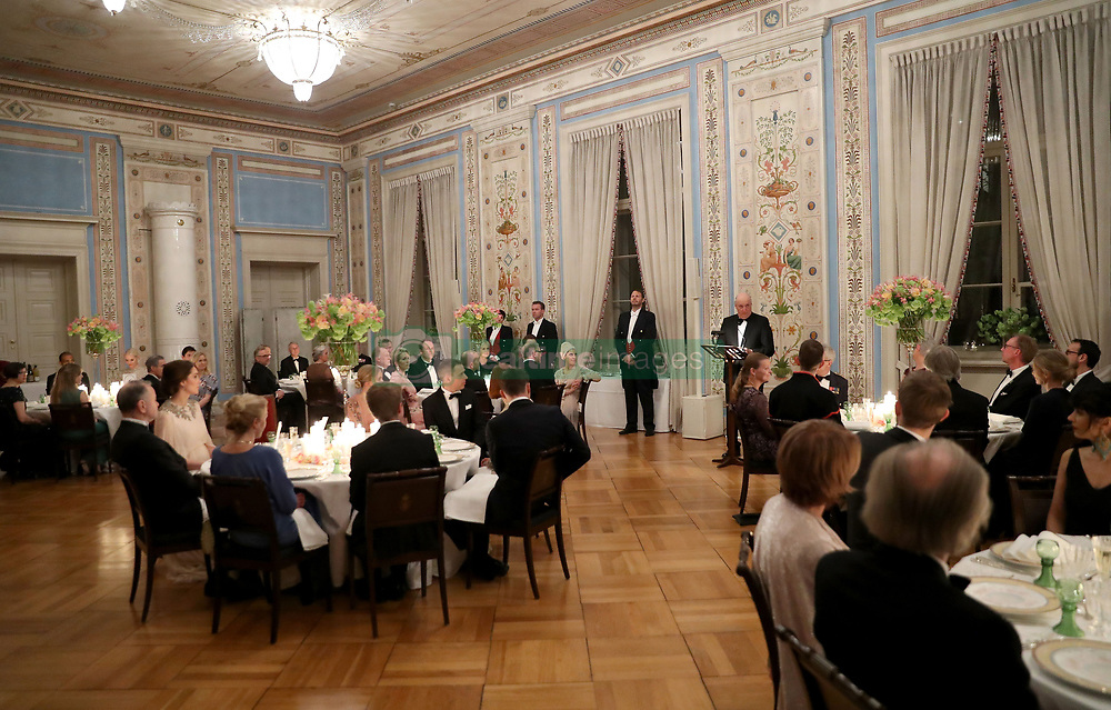 King Harald V of Norway makes a speech at a dinner with the Duke and Duchess of Cambridge at the Royal Palace, Oslo, Norway and the end of the third day of their tour of Scandinavia.